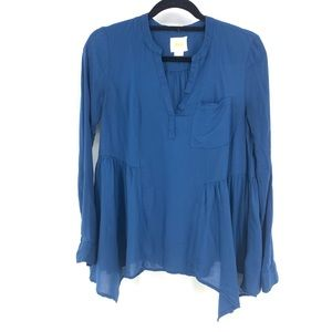 Anthropologie Maeve Sz 4 Peplum Blouse Blue